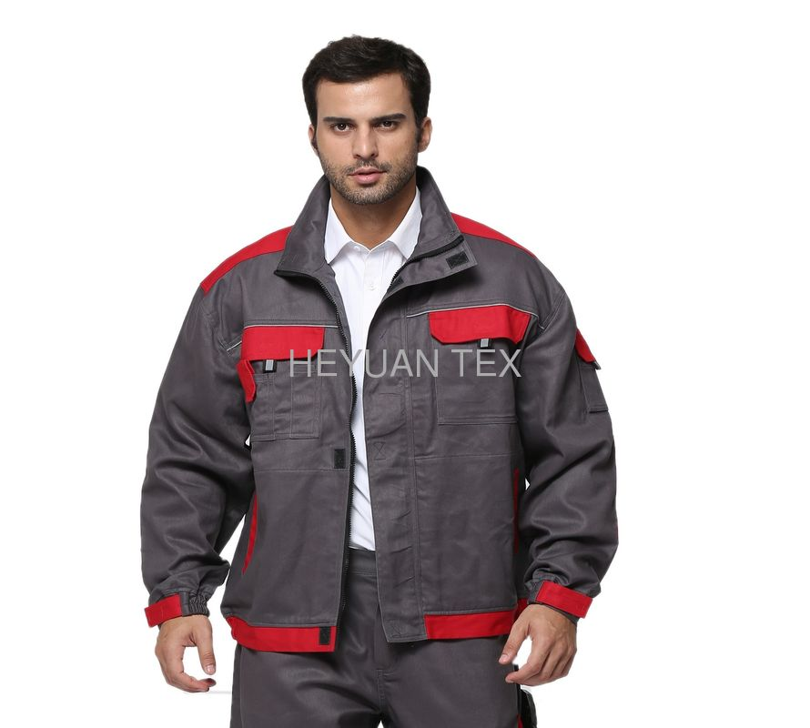 100% Cotton Industrial Work Jackets Color Match Tear Resistant With Multi Pockets